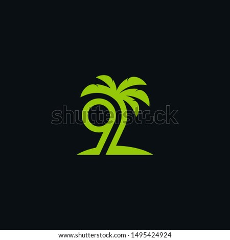 9 palm illustration logo green