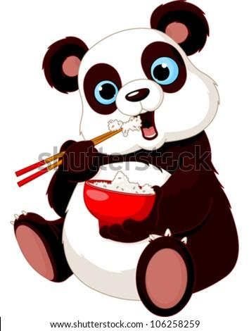panda eating rice with