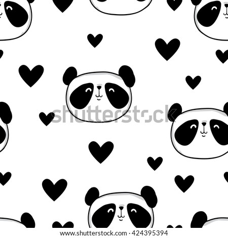 panda. heart. black and white bear. vector. illustration. panda seamless.