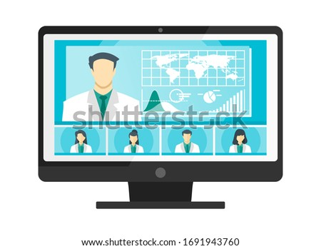 5 Panel Doctor TV Video Web Conference Teleconference. Scientist Surgeon Specialist Medical Expert Nurse Pharmacy Online Virtual Meetings. Hospital Team Remote Work Flatten The Curve COVID-19 Pandemic