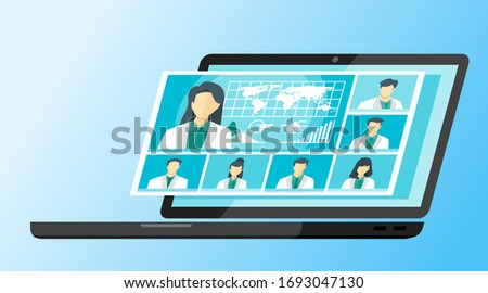 7 Panel Doctor TV Video Web Conference Teleconference. Scientist Surgeon Specialist Medical Expert Nurse Pharmacy Online Virtual Meetings. Hospital Team Remote Work Flatten The Curve COVID-19 Pandemic