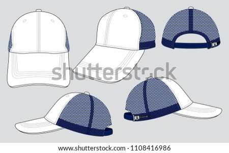 Trucker mesh hat template vector download free vector art stock 6 panel net baseball cap white navy maxwellsz