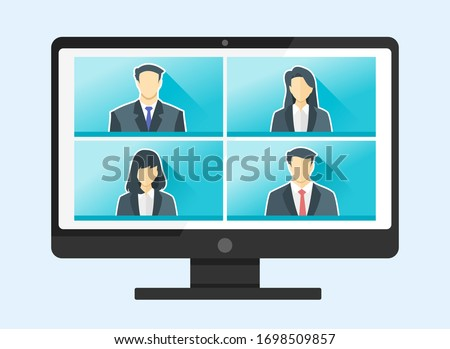 4 Panels Online Virtual Remote Meetings, PC TV Video Web Conference Teleconference. Company CEO President Authorities Executive Manager Boss Employee Team Work Learn From Home WFH Live Stream Webinars