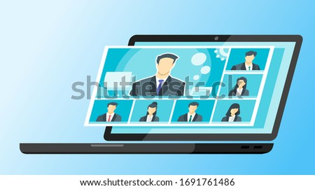 7 Panels Online Virtual Remote Meetings, TV Video Web Conference Teleconference Call  Male Main. Company CEO President Executive Manager Boss Employee Team Work Learn From Home WFH Live Stream Webinar