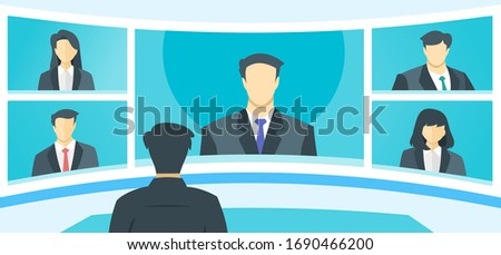 5 Panels Online Virtual Remote Meetings, TV Video Web Conference Teleconference with Male Main. Company CEO President Executive Manager Boss Employee Team Work Learn From Home WFH Live Stream Webinars