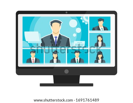7 Panels Online Virtual Remote Meetings, TV Video Web Conference Teleconference with Male Main. Company CEO President Executive Manager Boss Employee Team Work Learn From Home WFH PC Live Stream Webin
