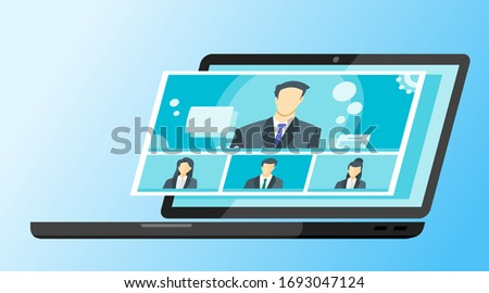 4 Panels Online Virtual Remote Meetings,  Video Web Conference Teleconference Female Main. Company CEO President Executive Manager Boss Employee Team Work Learn From Home WFH Live Stream Webinars