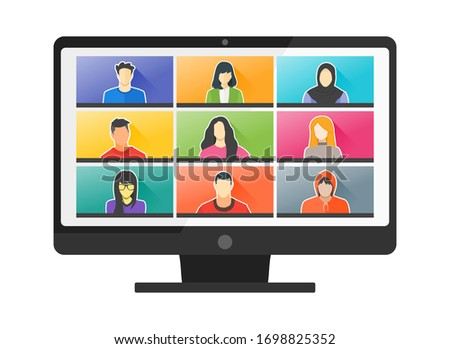 9 Panels Young Man & Woman Online Virtual Remote Meetings, PC Video Web Conference Teleconference. Millennial Teenager College University School Student Team Stay Study Learn From Home WFH Live Stream