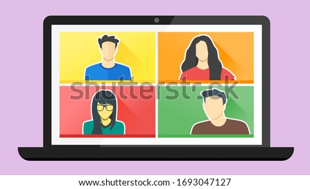 4 Panels Young Man & Woman Online Virtual Remote Meetings, Video Web Conference Teleconference. Millennial Teenager College University School Student Team Stay Study Learn From Home WFH Live Stream