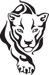 Panther or Tiger Symbol Logo. Tribal Tattoo Design. Vector Illustration.