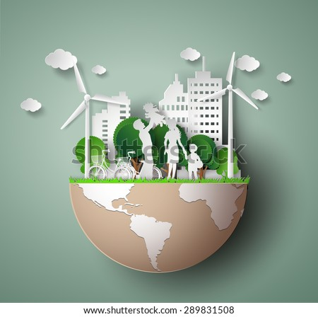 paper art concept of eco friendly and save the earth with happy family.