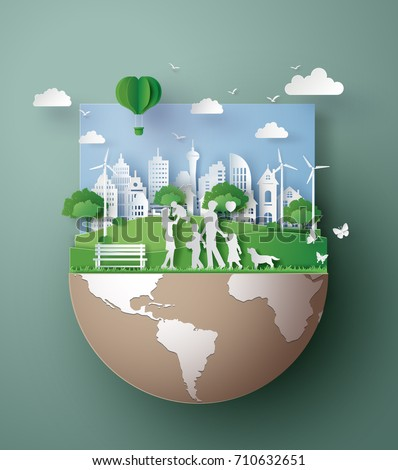paper art concept of eco friendly , save the earth and world environment day with family