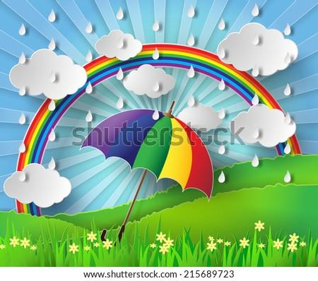 paper art of colorful umbrella
