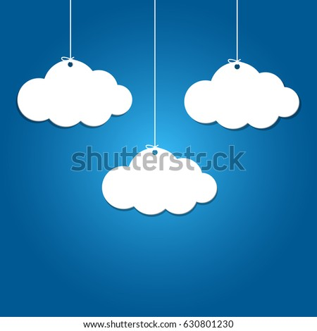 3 paper clouds hanging on blue