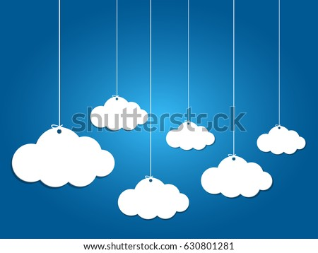 6 paper clouds hanging on blue