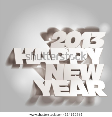 2013: Paper Folding with Letter, Happy New Year, Monochrome Drawings - stock vector