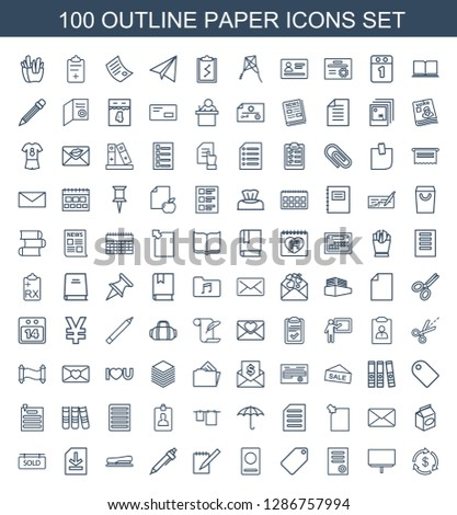 100 paper icons. Trendy paper icons white background. Included outline icons such as Money, board, document, tag, passport, notebook, pen, stapler. paper icon for web and mobile.