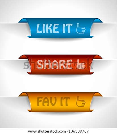 3 paper stickers tag for sharing options with high contrast colours, real paper effect and transparent shadows