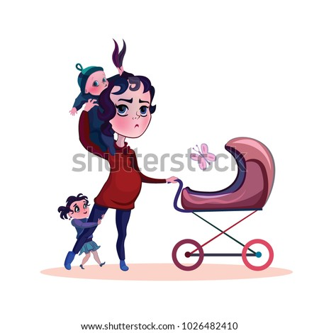 Shutterstock 	 Parent with many children. Tired pregnant mother loner. Funny cartoon illustration.