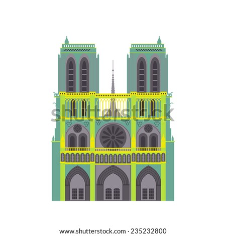 paris cathedral icon vector