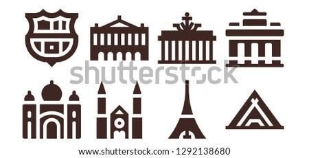 paris icon set 8 filled paris