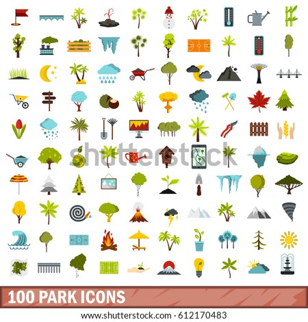 100 park icons set in flat