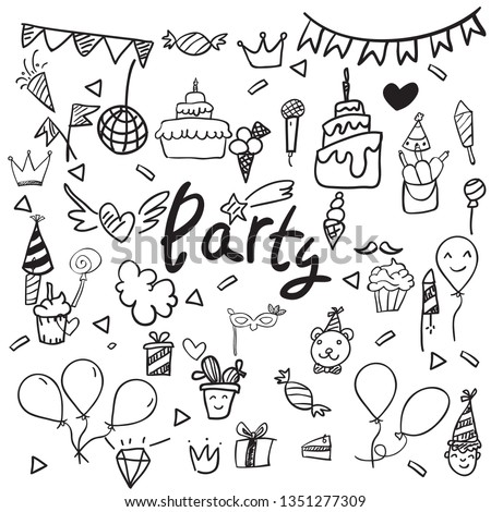 Party element. Hand drawing Doodle  doodle background vector