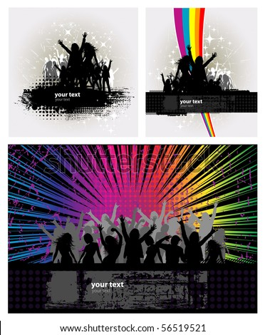 3 Party peoples, audience cheering success vector background with rainbow