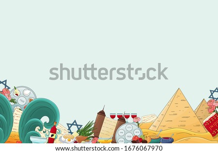 Passover background. Happy Pesach backdrop, invitation template, greeting card. Jewish traditional passover icons. plate, four wine glass,matzah, star of David,pyramid, sea. Happy Passover holiday.