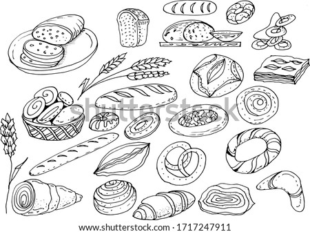 Pastry sweets doodle sketch hand drawn vector illustration line graphics long loaf pastry dough cupcakes bread baguette pastries wheat rye flour shop kitchen cooking menu