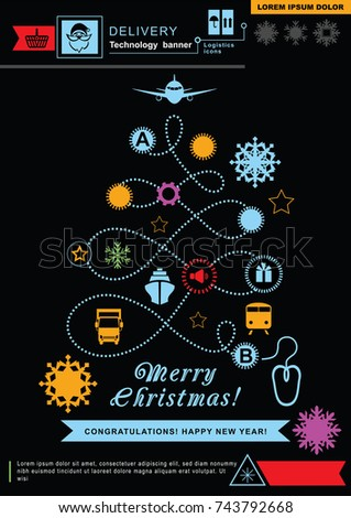 Pathway in the shape of christmas tree. Bright neon christmas logistics icons on the black background. Technology background. Icon of Santa Claus.