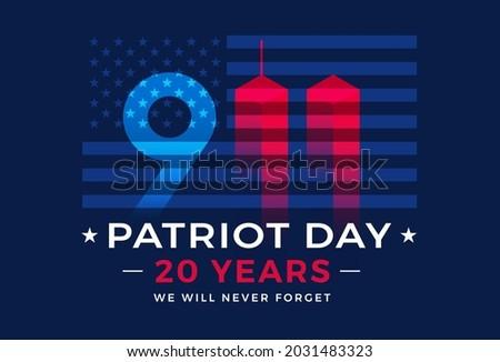 9 11 Patriot Day 20 Years USA - patriotic background vector  Сток-фото ©