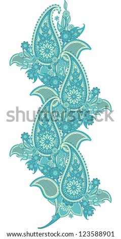 pattern border based on traditional Asian elements Paisley