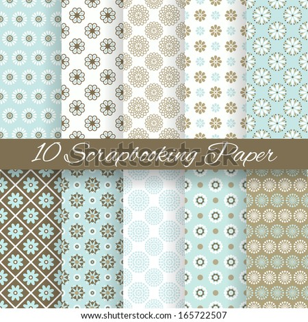 10 Pattern papers for scrapbook tiling Blue white and brown shabby color Endless texture can be used for printing onto fabric and paper or scrap booking Flower abstract shape Baby wallpaper