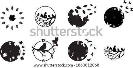 5 Pattern Set Clock Watches Bird Decor plasma waterjet laser cut CNC File Art   Dxf, Svg, Max, Cdr, Eps, FBX, AI, 3DS  Set 108  Foto stock ©