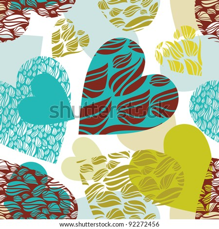 pattern with hearts and love ko-fe, vector.