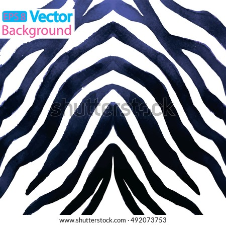 Stock Photo  Pattern with stripes. The skin of a zebra. White fur with dark stripes. Texture watercolor.