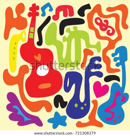 pattern with various musical instruments ,Abstract Music Background ,Collage with musical instruments. , vector illustration.