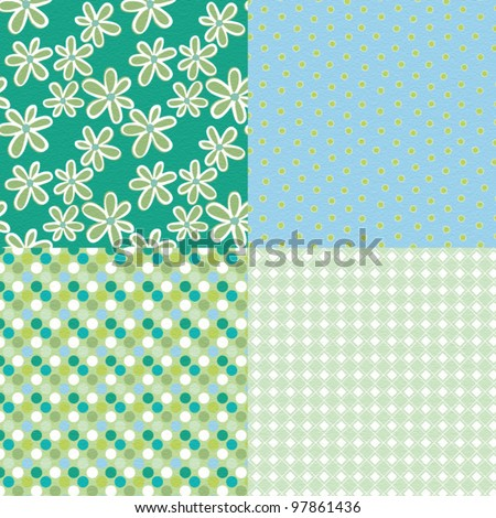4 patterns with retro flowers and shapes