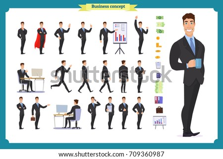 People character business set.Young businessman in formal wear.Different poses and emotions, running, standing, sitting, walking, happy, angry. Full length, front, rear view against white background.