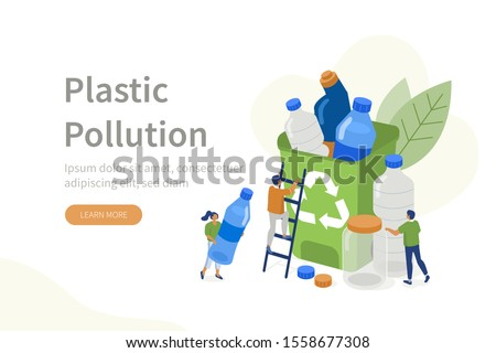 People Characters collecting Plastic Trash into Recycling Garbage Bin. Woman and Man taking out the Garbage. Plastic Pollution Problem Concept. Flat Isometric Vector Illustration.