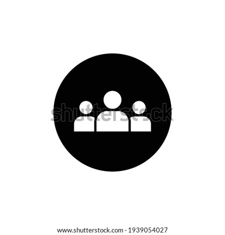 3 people glyph icon. Simple solid style. Multi user, circle, group, person, service concept.  Crowd sign symbol design. Vector illustration isolated on white background. EPS 10. Foto stock ©