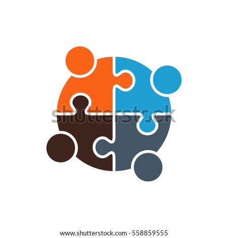 People Group Solving a Problem Logo. Vector graphic design illustration