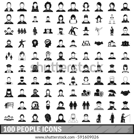 100 people icons set in simple style. Illustration of people icons isolated woman and man profession vector for any design