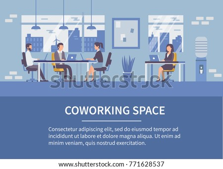 People in coworking office concept design for web banners, infographics with text place. Co-workers at work. Flat style vector illustration.