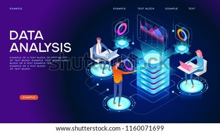 People in the team analyze diorams and graphics. Data visualization concept. 3d isometric vector illustration.
