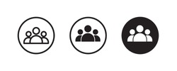 3 people line Icon isolated on white background. Crowd sign. 3 three Persons symbol for your web site design, logo User Set, Men, Women person id business icons, button, vector, editable stroke, flat