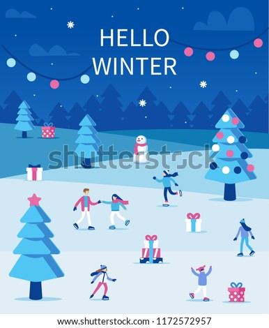 People skating on ice rink in winter season. Christmas holiday card. Flat style vector illustration.