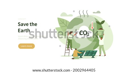 People trying to save planet earth from climate change. Characters planting trees, using clean energy, warning about CO2 emission.  Climate change problem concept. Flat cartoon vector illustration.