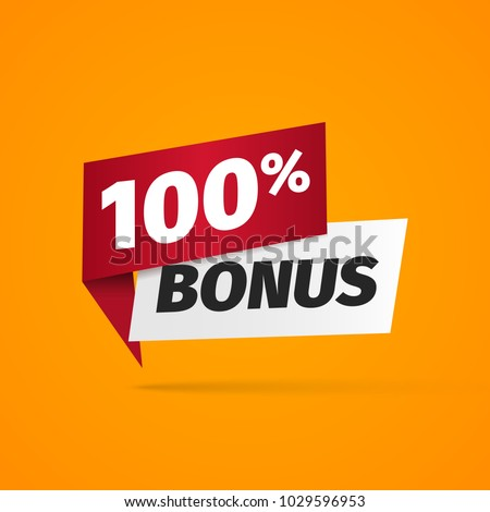100 percent bonus web banner on yellow background. Web gift label vector illustration